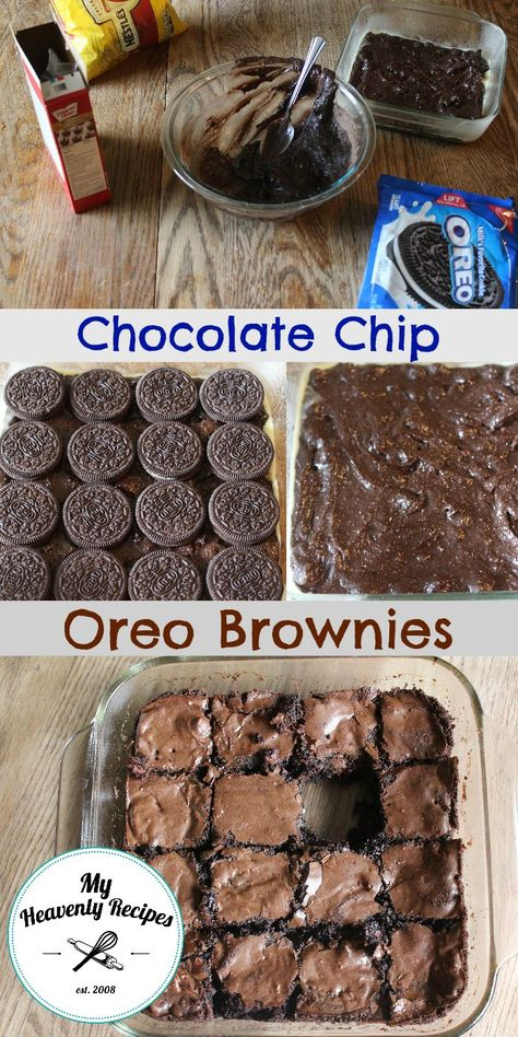 A heavenly dessert that involves Oreo's and Brownies!- A heavenly dessert that involves Oreo's and Brownies! A heavenly dessert that involves Oreo's and Brownies! Chocolate Chip Oreo Brownie Recipe, Brownie Desserts, Oreo Brownies, Chocolate Chip Cookie Dough, Mini Desserts, Easy Desserts, Delicious Desserts, Yummy Food, Chocolate Oreo