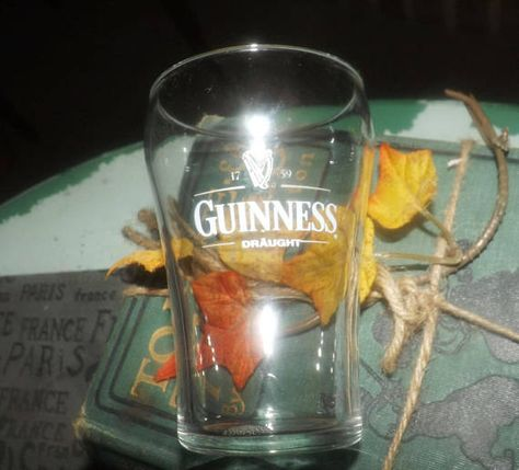 Vintage (c. early-mid 1990s) Guinness Draught Ale sampler | beer tasting glass.  Etched Guinness wording and harp logo.  RARE!