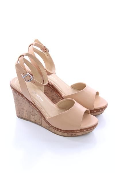 Tan Cork Wedges Chinese Laundry Ankle Strap Heels Strap Heels