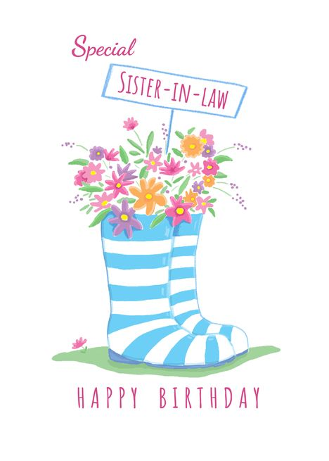 Special Sister In Law Birthday Floral Wellington Boots Card Ad Sponsored Law Birthday Spe Sister In Law Birthday Grandmother Birthday Cousin Birthday
