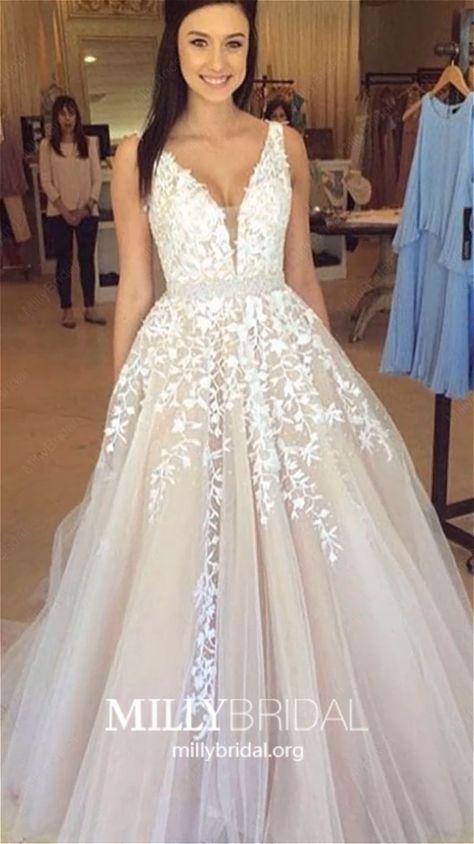 2019 Long Prom Dresses Princess, Champagne Prom Dresses Modest, Lace Prom Dresses V Neck, Tulle Prom Dresses Beautiful