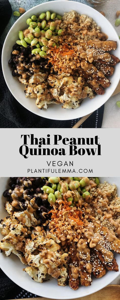 Thai Peanut Quinoa Bowl – Plantiful Emma – Quinoa bowls have become a huge staple in my life. I swear by them to the point where they have bec – Thai Peanut Quinoa Bowl – Plantiful Emma – Quinoa bowls have become a huge staple in my life. I swear by … Veggie Recipes, Whole Food Recipes, Vegetarian Recipes, Cooking Recipes, Healthy Recipes, Vegan Quinoa Recipes, Healthy Breakfasts, Avocado Recipes, Slow Cooking