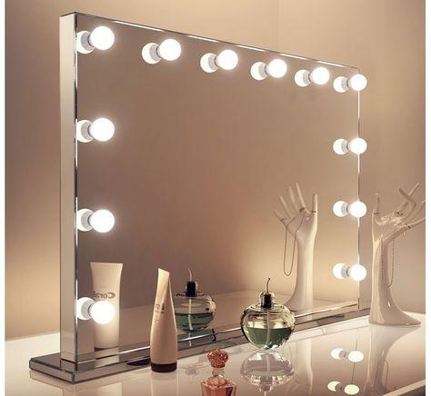 Verrassend Luxe afgewerkte visagie spiegel met 12 dimbare lampen 100×70 cm WC-33