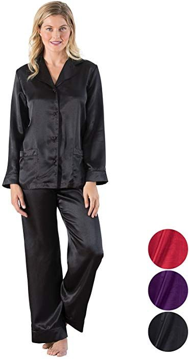 1416131651fd7 Addison Meadow Women's Satin Pajama Set with Button-Up Top, Black ...