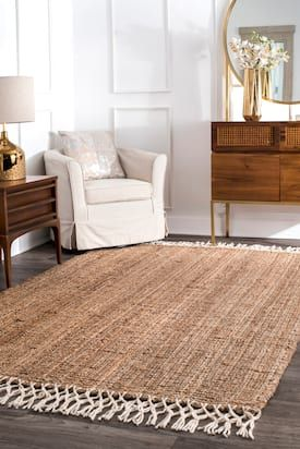 Rugs Usa Natural Maui Hand Woven Jute With Wool Fringe Rug