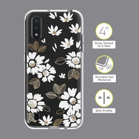 Onn Clear With White And Gold Floral Design Phone Case For Samsung Galaxy A01 Walmart Com In 2021 Phone Case Design Phone Cases Samsung Galaxy