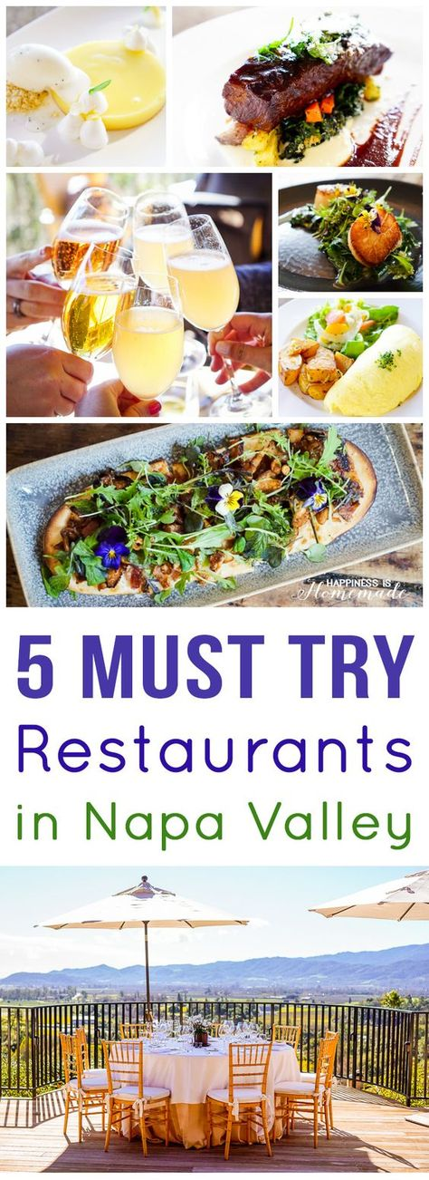 "5 Extraordinary Places to Eat in Napa Valley - the very best places to eat in Napa. These should ALL be on your ""Must Try"" list! - Happiness is Homemade"
