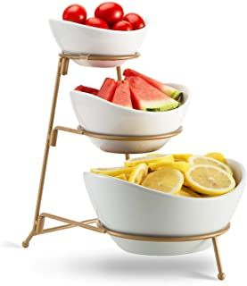 3 Tier Oval Bowl Set With Metal Rack Habilife Three Ceramic Fruit Bowl Serving Tiered Serving Stan Ceramic Fruit Bowl Dessert Appetizers Tiered Serving Stand