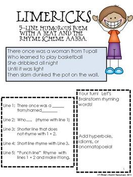 Limerick Writing Poetry Instructions Samples And Student