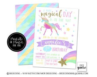 36 unicorn birthday party invitations