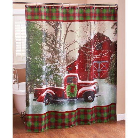 Christmas Shower Curtain With Vintage Red Truck Barn And Holiday