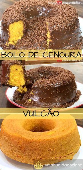 Receita De Bolo De Cenoura Com Cobertura Vulcao De Chocolate