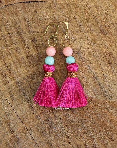 e894d291c7043 Boho Beads Tussel Dangle Earrings