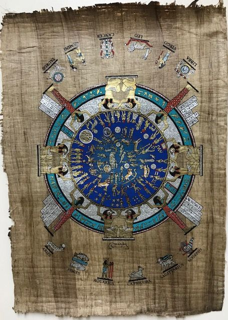 The Dendera Zodiac Calendar Wallart Painting On Dark Papyrus   Etsy    Dendera zodiac, Papyrus paper, Zodiac calendar