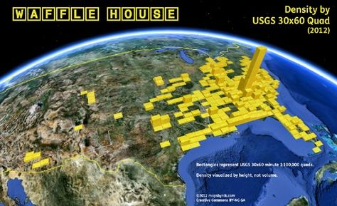 Waffle House Density by Quad The map shown here is a truly quick-and-dirty visualization of the distribution and density of Waffle House locations as of summer It started as a way for me to play.