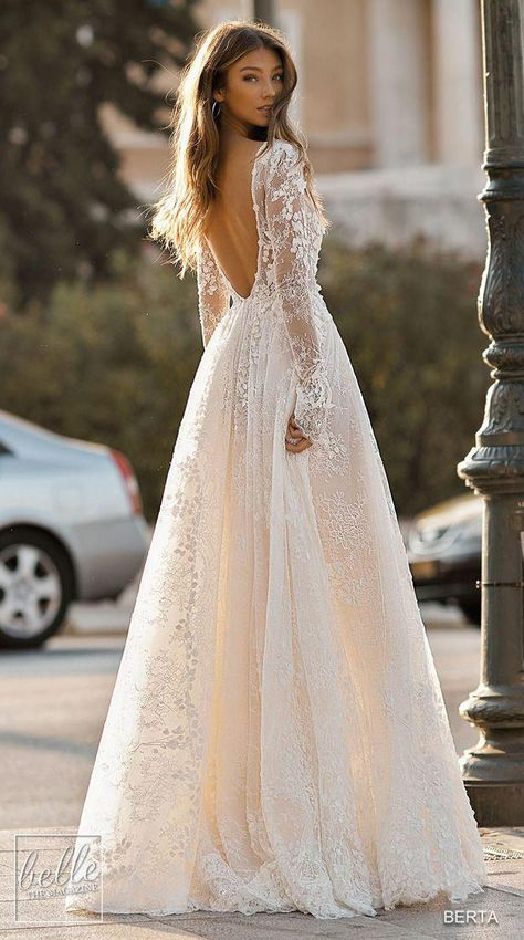 Lace backless ball gown wedding dress with long sleeves princess BERTA Wedding Dresses 2019 Athens Bridal Collection. Lace backless ball gown wedding dress with long sleeves princess Chiffon Wedding Gowns, Fall Wedding Dresses, Wedding Dress Sleeves, Lace Weddings, Bridal Dresses, Gown Wedding, Wedding Cakes, Wedding Rings, Modest Wedding
