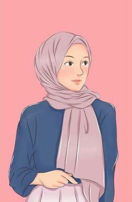 خلفيات بنات محجبات كرتون Ilustrasi Orang Anime Gadis Cantik Lukisan Wajah