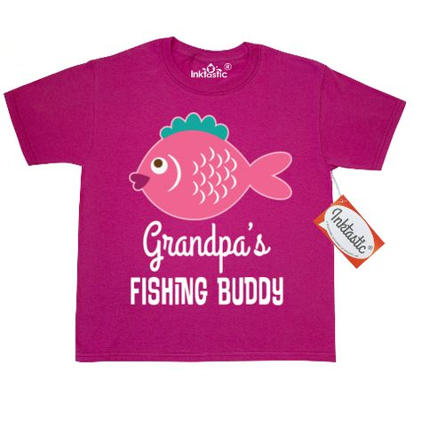 30edad00 Cute girls Youth T-Shirt has pink fish and Grandpa's fishing buddy quote  for a granddaughter who loves to go fishing with her grandfather.