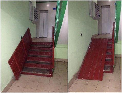 Best Wheelchair ramp ideas – obviously this is too steep but it's a great … - Modern Handicap Accessible Home, Handicap Ramps, Ramp Design, House Design, Ramp Stairs, Stair Slide, Handicap Bathroom, Wheelchair Accessories, Wheelchair Ramp