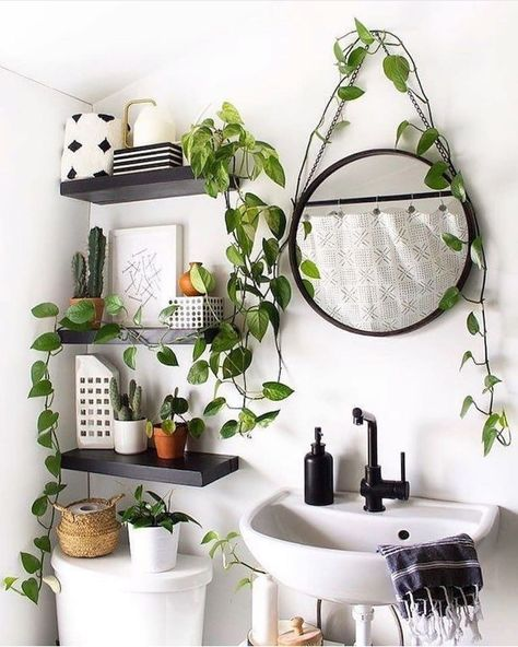 Bathroom Decor plants plant stand design ideas for indoor houseplants 29 plants indoorplants houseplants lt; Interior Design Living Room, Interior Decorating, Decorating Ideas, Gypsy Decorating, Interior Design Plants, Interior Paint, Interior Ideas, Small Bathroom, Minimal Bathroom