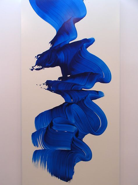Non-objective painting by James Nares - a British artist living and working in New York. Most of his artworks constitute a long brushstroke of a solid color, on an oversized stretcher. Via Ruffles & Sequins Blue Aesthetic, Creative, Painting, Art, Color Me, Artsy, James Nares, Abstract, Color