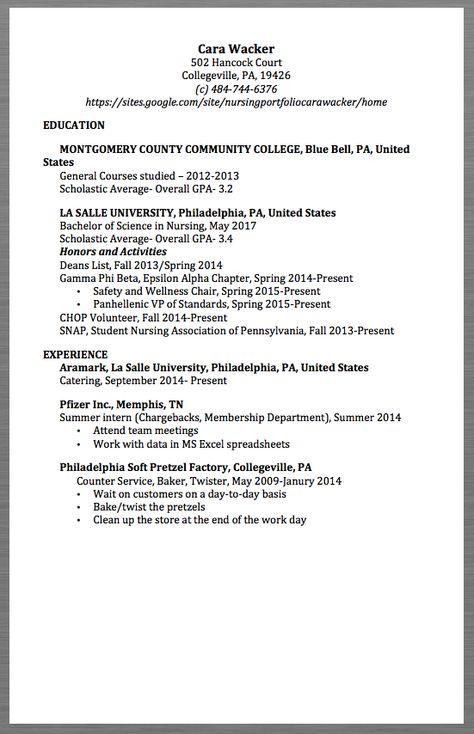 Nursing Resume Samples Cara Wacker 502 Hancock Court Collegeville - baker resume