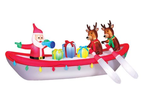 Santa Rowboat Scene with Reindeer Christmas Inflatable.  Santa is at the helm with Team Santa hoping to get some gifts delivered on time. Looking to give a good ho ho ho laugh this Christmas Season to friends and visitors, then this inflatable is for you.  Super size your Holiday Decorating with this 10 foot long OC Christmas Inflatable.  Great centerpiece decoration.