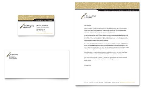 Bookkeeping and Accounting Services Business Card and Letterhead - service business plan template