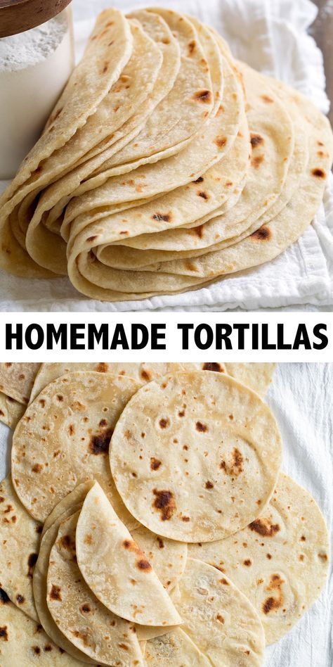 Also known as the worlds best way to make tortillas and they only require 5 ingredients if you don't count water and salt) and a simple prep! They're super soft, perfectly chewy and completely addictive. Recipes With Flour Tortillas, Homemade Flour Tortillas, Mexican Dishes, Mexican Food Recipes, Dinner Recipes, Naan, Yummy Food, Good Food, Food Test
