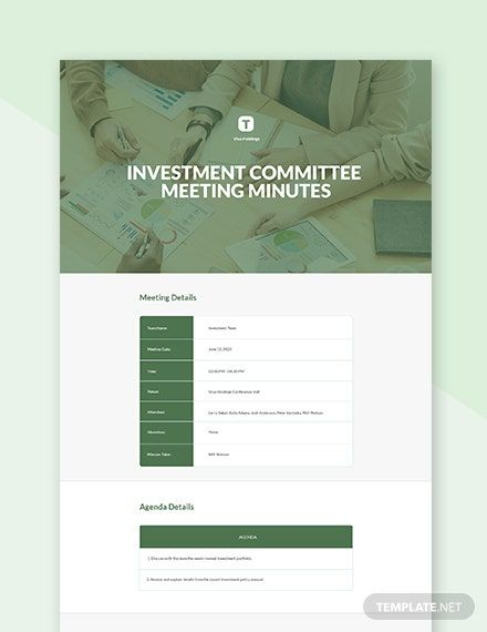 Free Investment Committee Meeting Minutes Template Templates Template Design Word Doc