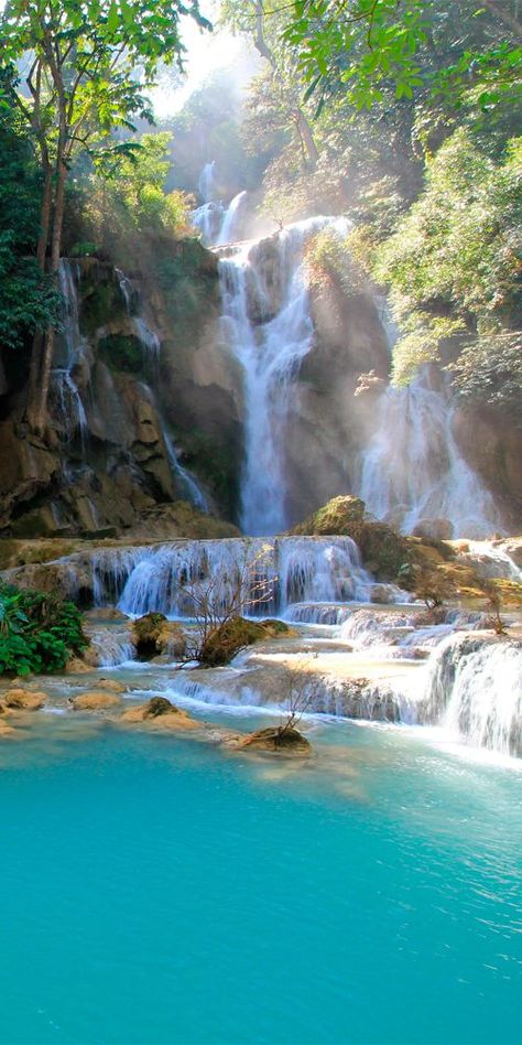 Kuang Si Falls are some of the most beautiful waterfalls in Southeast Asia #Laos