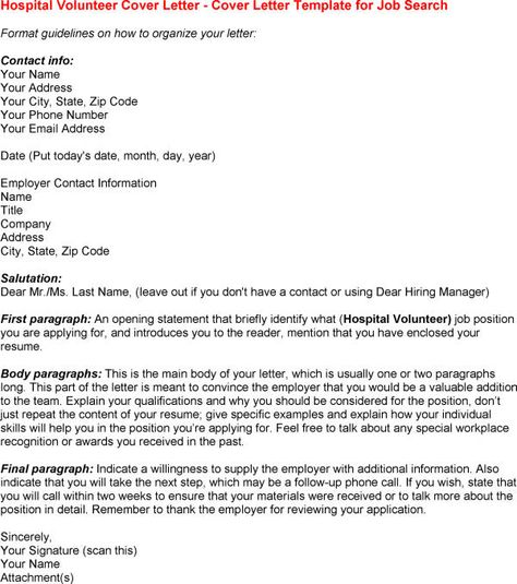 job cover letter template nursing sample application letters for - hospital volunteer resume