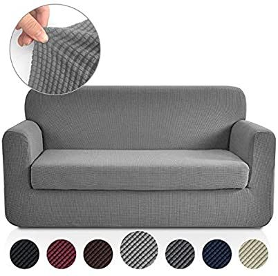 Amazon Com Rose Home Fashion Jacquard Stretch 2 Separate Pieces Sofa Cover Sofa Slipcover With Separate Cushion Slip Covers Couch Loveseat Covers Slipcovers