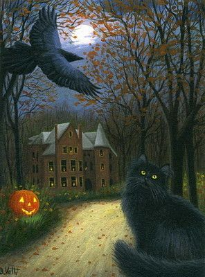 Black cat raven haunted house moon old road Halloween original aceo painting art by B. Voth