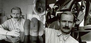 """""""Hinter dem Spiegel"""" – Porträtaufnahmen von HAP Grieshaber  Der Reutlinger Fotograf Carl Näher (1901-1981) hatte Anfang der 1950er Jahre eine Reihe Porträtstudien gemacht, die Grieshaber als nachdenklichen und suchenden Künstler interpretierten. Spiegeleffekte und die Einbeziehung seiner monumentalen Holzschnitte unterstützten dabei diesen Eindruck. Die beiden Porträts entstanden um 1952 an der """"Bernsteinschule"""", die in einem Kloster in der Nähe von Sulz untergebracht war. Grieshaber…"""