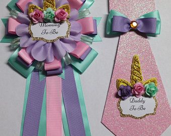 Mommy Baby Unicorn Baby Shower Mommy To Be Corsage Pin Globos