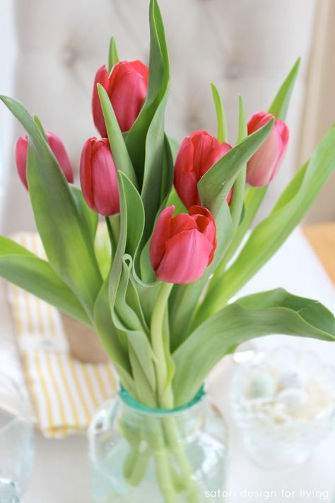 Green Glass Bottles With Bright Pink Tulips