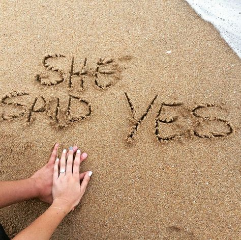 Beach engagement photo idea | #SheSaidYes