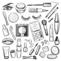Hand Drawn Beauty And Makeup Icons Set Beauty Drawn Hand