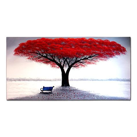 FLY SPRAY 1-Piece 100% Hand Painted Oil Paintings Stretched Framed Ready Hang Flower Landscape Tree Flower Modern Abstract Painting Canvas Living Room Bedroom Office Wall Art Home Decoration #homedecor #decor #art
