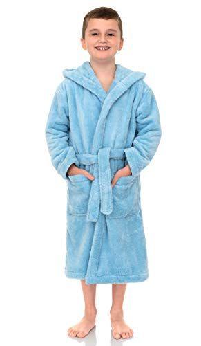 TowelSelections Boys Robe Kids Plush Hooded Fleece Bathrobe