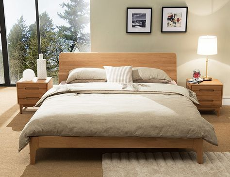 Beaumont Edition Wood Bed Frame Solid Oak Wood Wood Bed Frame Solid Wood Bed Frame Solid Wood Bed