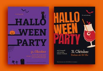 Halloween Flyer Set. Buy this stock template and explore similar templates at Adobe Stock