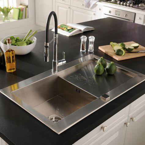 Evier à encastrer noir 2 cuves Pyrite - CASTORAMA Kitchen Reno - decoupe plan de travail pour evier