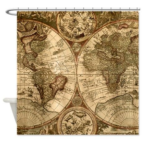 Vintage World Map Shower Curtain on CafePress.com | One of a ...