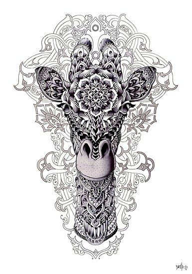 Hand drawn ornately decorated giraffe head with flourish background. Drawn on cold press illustration board with graphite, ball point pen, colored pencil, watercolor, and fine liners. • Millions of unique designs by independent artists. Find your thing.