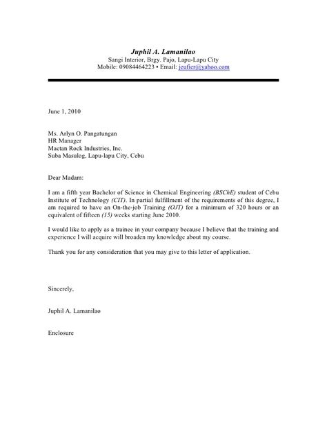 application letter for ojt business management Sample resume objectives for ojt looking for a management ojt position in which i can looking for an opportunity in a reputed business where i can match my.