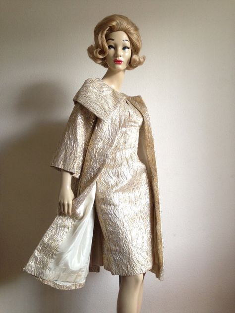 5fb2ad1b76 Reserved Vintage 50s Fredericks of Hollywood Gold Silver Lame Wiggle Shelf  Bust Dress and Coat L