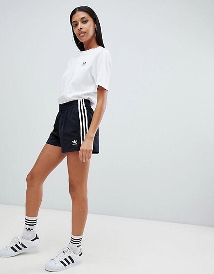 Adidas Originals Three Stripe Shorts In Black L Adidas Shorts Women Shorts Outfits Women Striped Shorts Outfit