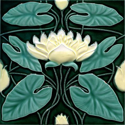 lotus Art Nouveau Tile, Golem Kunst- und Baukeramik -- look at these as harmonious to the egyptian theme